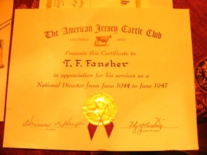 Fansehr's American Jersey Cattle Club Director certificate