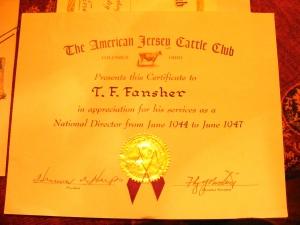 Fansehr's American Jersey Cattle Club Director certificate