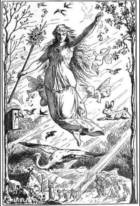 Ostara and her Hare (by Johannes Gehrts, 1884)